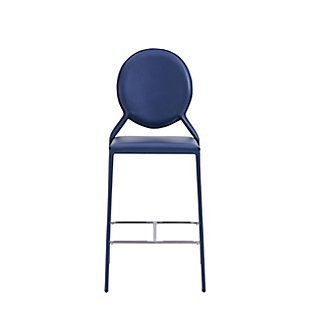 Euro Style Isabella Counter Stool in Blue with Polished Stainless Steel Foot Rest (Set of 2), Blue, rollover