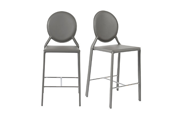 Euro Style Isabella Counter Stool in Gray with Polished Stainless Steel Foot Rest (Set of 2), Gray, large