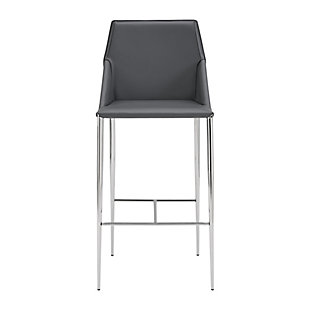 Euro Style Kasen Counter Stool in Dark Gray with Brushed Stainless Steel Legs and Footrest, Dark Gray, rollover