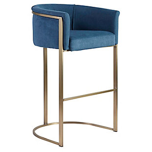 Euro Style Marrisa Bar Stool in Blue Fabric with Light Brass Base, Blue, rollover
