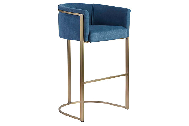 Euro Style Marrisa Bar Stool in Blue Fabric with Light Brass Base, Blue, large
