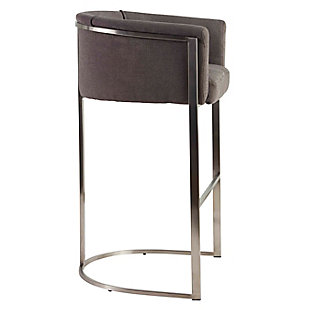 Euro Style Marrisa Bar Stool in Gray Fabric with Brushed Stainless Steel Base, Gray, large