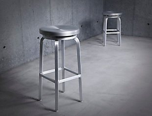 Euro Style Miller Swivel Counter Stool in Matte Aluminum, Silver, large