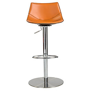 Euro Style Rudy Adjustable Swivel Bar/Counter Stool in Cognac with Brushed Stainless Steel Base, Cognac, rollover