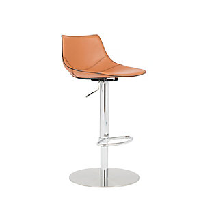 Euro Style Rudy Adjustable Swivel Bar/Counter Stool in Cognac with Brushed Stainless Steel Base, Cognac, large