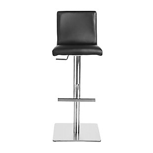 Euro Style Scott Adjustable Bar/Counter Stool In Black With Brushed Stainless Steel Base, Black, rollover