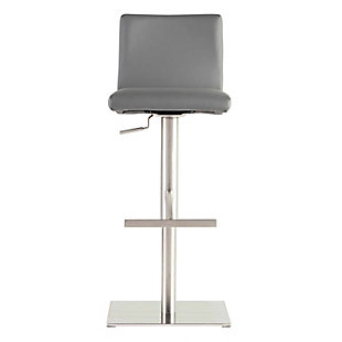Euro Style Scott Adjustable Bar/Counter Stool In Gray With Brushed Stainless Steel Base, Gray, rollover