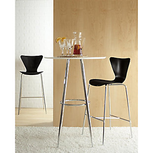Euro Style Tendy Counter Stool in American Walnut with Chrome Legs (Set of 2), Black, large