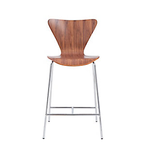 Euro Style Tendy Counter Stool in American Walnut with Chrome Legs (Set of 2), Walnut, rollover