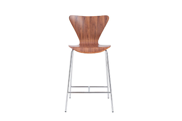 Euro Style Tendy Counter Stool in American Walnut with Chrome Legs (Set of 2), Walnut, large