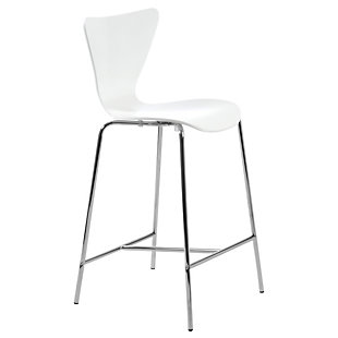 Euro Style Tendy Bar Stool in White with Chrome Legs (Set of 2), White, rollover