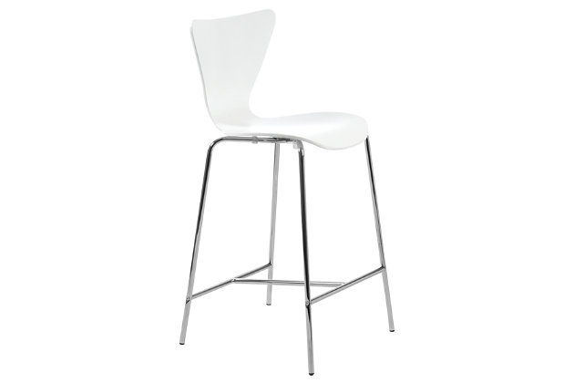 Euro Style Tendy Counter Stool in American Walnut with Chrome Legs (Set of 2), White, large