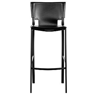Euro Style Vinnie Counter Stool in Black with Black Steel Legs (Set of 2), Black, rollover