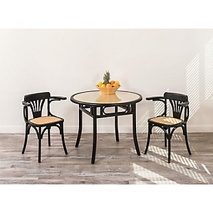 Euro Style Adna Arm Chair in Black with Cane Seat in Natural (Set of 2), Black, rollover