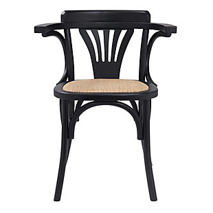 Euro Style Adna Arm Chair in Black with Cane Seat in Natural (Set of 2), Black, large