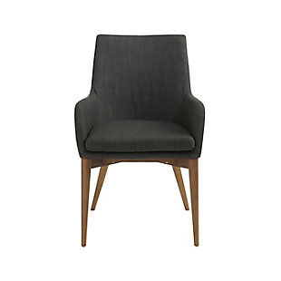 Euro Style Calais Arm Chair in Dark Gray with Walnut Legs (Set of 2), Dark Gray, rollover