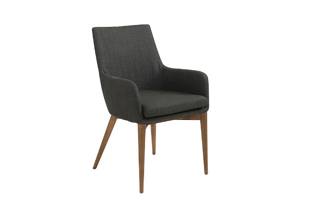 Euro Style Calais Arm Chair in Dark Gray with Walnut Legs (Set of 2), Dark Gray, large