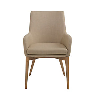 Euro Style Calais Arm Chair in Tan with Walnut Legs (Set of 2), Tan, large