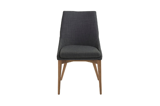 Euro Style Calais Dining Chair in Dark Gray with Walnut Legs (Set of 2), Dark Gray, large