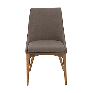 Euro Style Calais Dining Chair in Dark Gray with Walnut Legs (Set of 2), Gray, large