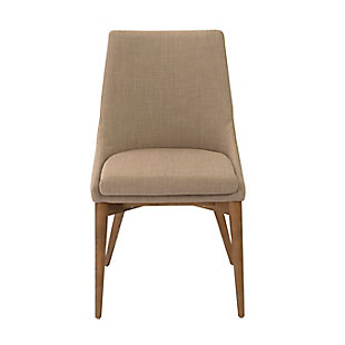 Euro Style Calais Dining Chair in Tan with Walnut Legs (Set of 2), Tan, large