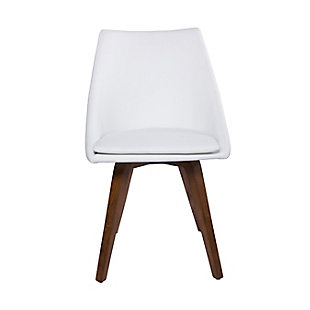 Euro Style Calla Dining Chair in White Leatherette with Walnut Legs (Set of 2), White, rollover