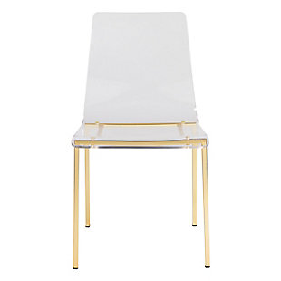 Euro Style Chloe Side Chair in Clear Acrylic with Matte Brushed Gold Legs - Set of 4, Clear/Gold Finish, large