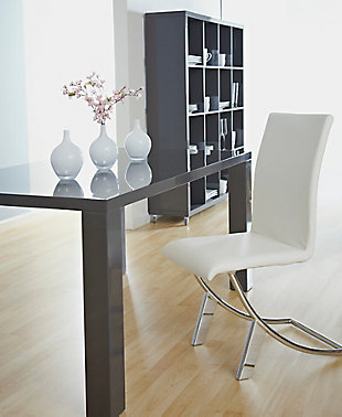 Euro Style Cordelia Dining Chair in White with Chrome Legs (Set of 2), White, rollover