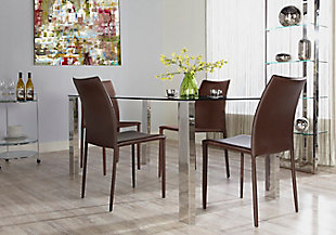Euro Style Dalia Stacking Side Chair in Brown (Set of 2), Brown, rollover