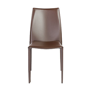 Euro Style Dalia Stacking Side Chair in Brown (Set of 2), Brown, large