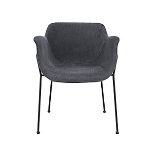 Euro Style Daphne Arm Chair In Dark Gray Fabric And Matte Black Legs (Set of 2), Dark Gray, large