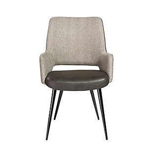 Euro Style Desi Arm Chair in Light Gray Fabric and Dark Gray Leatherette with Black Base, Light Gray, large