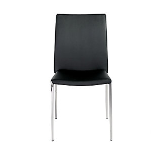 Euro Style Diana Stacking Side Chair in Black with Polished Stainless Steel Legs - Set of 4, Black, rollover