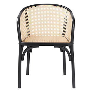 Euro Style Elsy Arm Chair in Black with Natural Rattan Seat (Set of 2), Black, rollover