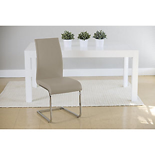 Euro Style Epifania Dining Chair in Taupe with Chrome Legs - Set of 4, Taupe, rollover