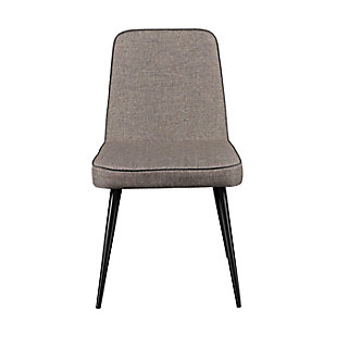 Euro Style Esmoriz Side Chair in Dark Gray and with Matte Black Legs (Set of 2), Gray/Black, large