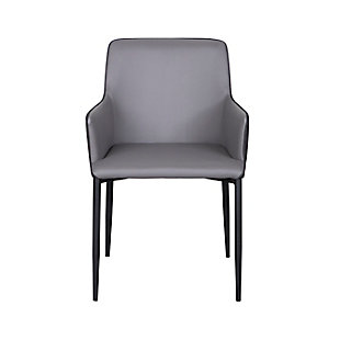 Euro Style Hardy Arm Chair in Gray Leatherette and Dark Gray Fabric with Black Legs, , large