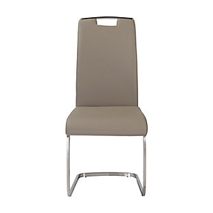 Euro Style Karl Side Chair in Taupe and Brushed Stainless Steel (Set of 2), Taupe, rollover