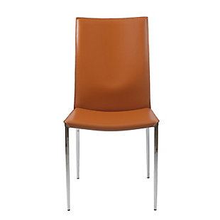Euro Style Max Side Chair in Cognac Leather with Chrome Legs (Set of 2), Cognac, rollover