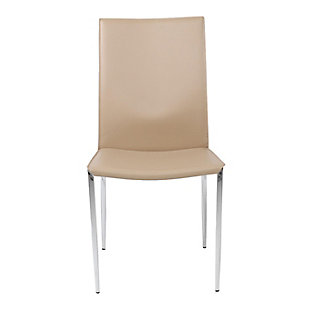 Euro Style Max Side Chair in Tan Leather with Chrome Legs (Set of 2), Tan, rollover