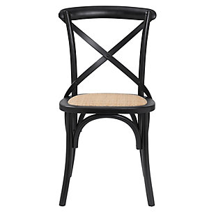 Euro Style Neyo Side Chair in Black with Natural Rattan Seat (Set of 2), Black, rollover