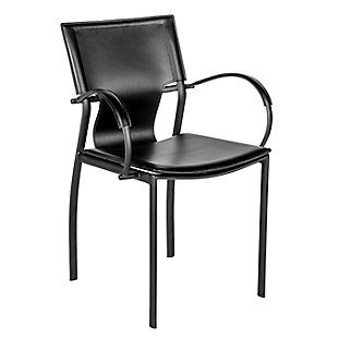 Euro Style Vinnie Arm Chair in Black with Chrome Legs (Set of 2), Black, large