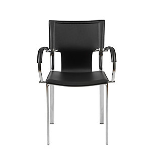 Euro Style Vinnie Arm Chair in Black with Chrome Legs (Set of 2), Black, rollover