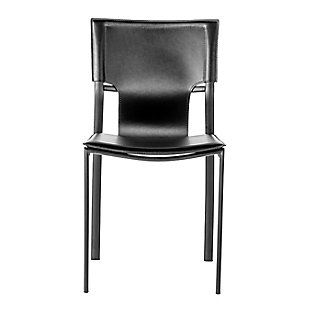Euro Style Vinnie Side Chair in Black with Black Steel Legs - Set of 4, Black, rollover