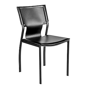 Euro Style Vinnie Side Chair in Black with Black Steel Legs - Set of 4, Black, large