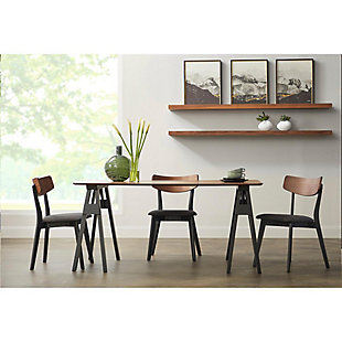 Euro Style Ziven Dining Chair in Dark Gray Fabric and Walnut (Set of 2), , rollover
