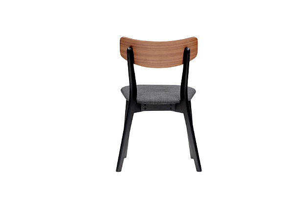 Euro Style Ziven Dining Chair in Dark Gray Fabric and Walnut (Set of 2), , large