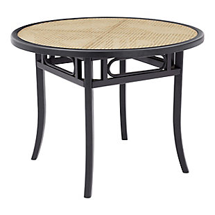 Euro Style Adna Dining Table in Black with Clear Tempered Glass Top over Cane in Natural, Black, rollover