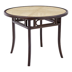 Euro Style Adna Dining Table in Walnut with Clear Tempered Glass Top over Cane in Natural, Walnut, large