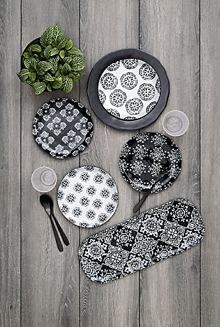 TarHong Planta Black Medallion Assorted Salad Plate (Set of 4), , rollover